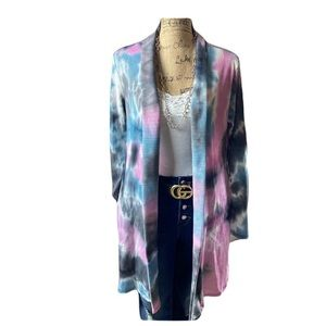 Blumin gray multicolored long sleeved cardigan